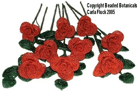 Beaded Flowers - Single Red Roses