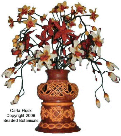 Beaded Flowers - Three Orchids in Knotted Celtic Vase